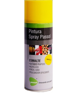 SPRAY ESMALTE ACRILICO PASSOL AMARILLO 400ML - 235GRS
